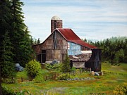Old Barn Paintings - Old Barn Near Kingston by Kathy Pipo-Jeffers