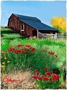 Old Barn Mixed Media Posters - Old barn  new flowers Poster by Craig Nelson