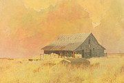 Old Barns Metal Prints - Old Barn on the Prairie Metal Print by Ann Powell