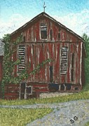 Vines Paintings - Old Barn -- Seen Better Days by Sherry Goeben