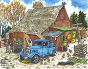 Ford Truck Drawings - Old Barn with Antique Pickup Truck by Bill Friday