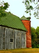 Julie Riker Dant Metal Prints - Old Barn with Brick Silo II Metal Print by Julie Dant