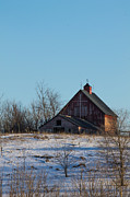 Winter Scenes Rural Scenes Prints - Old Barn with Cross - Vertical Print by Rick Grisolano Photography LLC