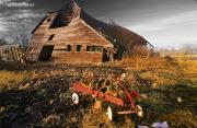 Abandonded Photos - Old Barn With Red Wagon by Bilderbuch