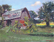 Farm Fields Painting Originals - Old Barns  by Ylli Haruni