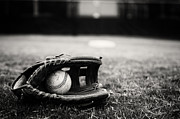 Baseball Seam Photo Metal Prints - Old Baseball and Glove on Field Metal Print by Danny Hooks