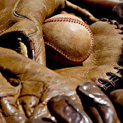 American Pastime Photo Posters - Old Baseball Ball and Gloves Poster by Art Block Collections