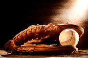 Game Photo Prints - Old Baseball Glove Print by Olivier Le Queinec