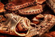 Baseball Glove Posters - Old Baseball Gloves Poster by Bill  Wakeley