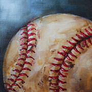 Laces Painting Posters - Old Baseball Poster by Kristine Kainer