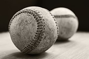 Baseball Closeup Photo Metal Prints - Old Baseballs Metal Print by Edward Fielding