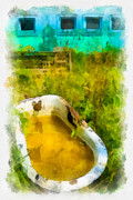 Old Bathtub Near Painted Barn Print by Amy Cicconi