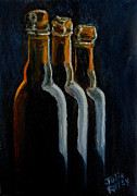 Beer Oil Paintings - Old Beer Bottles by Julie Brugh Riffey