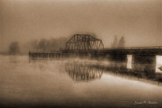 Brown Toned Art Framed Prints - Old Berkley Dighton Bridge Framed Print by Dave Gordon