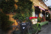 Napa Valley Photos - Old Bicycle at a French Bistro by George Oze