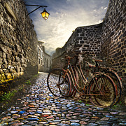 Cobblestones Photos - Old Bicycles on a Sunday Morning by Debra and Dave Vanderlaan