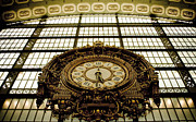 Large Clock Posters - old big awsome clock from Museum dOrsay in Paris France Poster by Raimond Klavins
