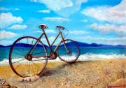 Old Bike At The Beach Print by Kostas Koutsoukanidis