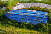 Rowboat Photos - Old blue boat by Garry Gay