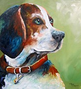 Beagle Prints Posters - Old Blue Eyes Poster by Kathy Fitzgerald