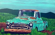 Rusty Truck Paintings - Old blue  by Mitchell Lewis