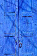 Signed Photos - Old blue wooden door - Mexico by David Perry Lawrence