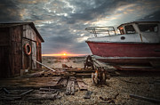 Old Boat At Sunset Print by Ivor Toms