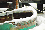 Green Boat Prints - Old Boat in Ice Storm Print by AdSpice Studios