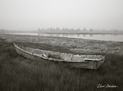 Old Boat Posters - Old Boat in Tidal Marsh Poster by Dave Gordon