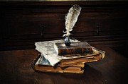 Old Books Prints - Old Books and a Quill Print by Mary Machare