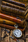 Wooden Table Prints - Old Books and Pocketwatch Print by Garry Gay