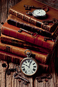 Wooden Table Framed Prints - Old books and watches Framed Print by Garry Gay