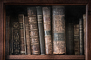 Teachings Framed Prints - Old books on the shelf - 19th Century Library Framed Print by Gary Heller