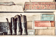Old Prints - Old boots and boxes - on the shelves of a 19th century General Store Print by Gary Heller