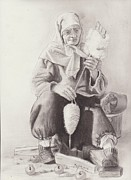 Handcrafted Drawings - Old Bosnian Woman by Refik Osmanagic
