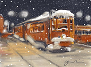 Snowstorm Digital Art Posters - Old Boston Trolley In The Snow Poster by Jean Pacheco Ravinski