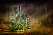 Texture Digital Art Prints - Old Bottles Print by Veikko Suikkanen