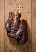 Boxer Digital Art Prints - Old Boxing Gloves Print by Danny Smythe