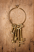 Antique Framed Prints - Old Brass Keys Framed Print by Danny Smythe