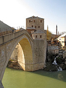 Mostar Framed Prints - Old Bridge in Mostar Framed Print by La di  Kirn