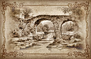 Calm Mixed Media Acrylic Prints - Old Bridge Acrylic Print by Mo T
