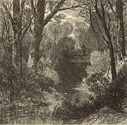 New Jersey Drawings - Old Bridge Near Redbank 1872 Engraving by Antique Engravings