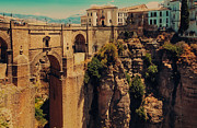 Historical Sight Prints - Old Bridge over Tajo Canyon in Ronda. Spain Print by Jenny Rainbow