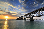 Bahia Honda Posters - Old Bridge Sunset Poster by Eyzen Medina