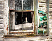 Abandoned Houses Photos - Old broken window and shutter of an abandoned house by Gary Heller