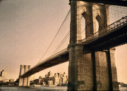 Vintage River Scenes Posters - Old Brooklyn Bridge Poster by Joann Vitali