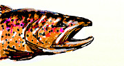 Flyfishing Digital Art Prints - Old Brown Trout Print by Owl Jones