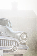 Foggy Morning Posters - Old Buick Out by the Barn Poster by Edward Fielding