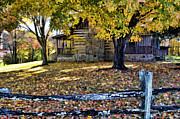 Split Rail Fence Framed Prints - Old Cabin In Autumn Framed Print by Kenny Francis