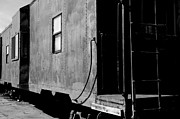 Old Caboose Posters - Old Caboose Black and White Poster by JW Hanley